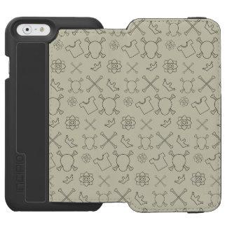 Capa Carteira Incipio Watson™ Para iPhone 6 Teste padrão do crânio e dos ossos do creme brulée