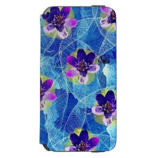 Capa Carteira Incipio Watson™ Para iPhone 6 Teste padrão floral artística roxo e azul bonito