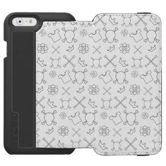 Capa Carteira Incipio Watson™ Para iPhone 6 Teste padrão preto e branco do crânio e dos ossos