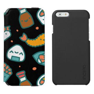 Capa Carteira Incipio Watson™ Para iPhone 6 Teste padrão sem emenda feliz bonito do sushi no