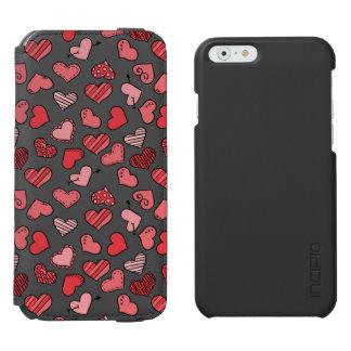 Capa Carteira Incipio Watson™ Para iPhone 6 Teste padrão simples de vibração dos corações dos