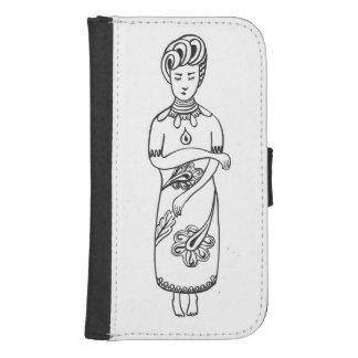Capa Carteira Para Galaxy S4 Caixa preta & branca da carteira do desenho