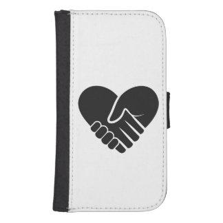 Capa Carteira Para Galaxy S4 Coração preto conectado amor