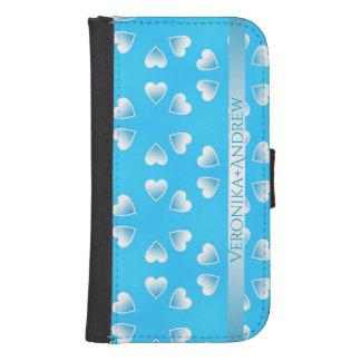 Capa Carteira Para Galaxy S4 Corações azuis pequenos bonito. Adicione seu