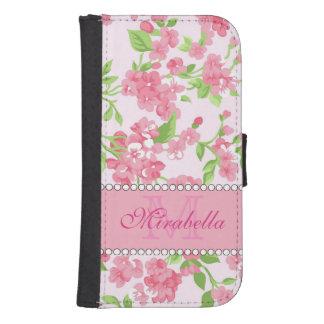 Capa Carteira Para Galaxy S4 Nome de ramos cor-de-rosa da flor da aguarela do