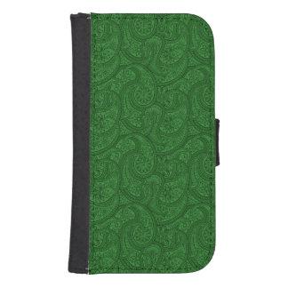 Capa Carteira Para Galaxy S4 Paisley verde