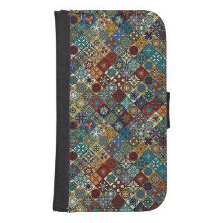 Capa Carteira Para Galaxy S4 Retalhos do vintage com elementos florais da