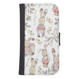 Capa Carteira Para Galaxy S4 Teste padrão bonito da aguarela dos coelhinhos da