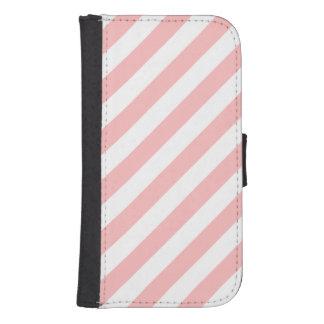 Capa Carteira Para Galaxy S4 Teste padrão diagonal do rosa e o branco das