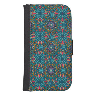 Capa Carteira Para Galaxy S4 Teste padrão floral étnico abstrato colorido da
