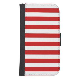 Capa Carteira Para Galaxy S4 Teste padrão vermelho e branco da listra