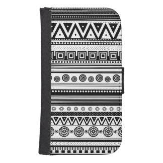 Capa Carteira Para Galaxy S4 Textura asteca decorativa branca preta bonito