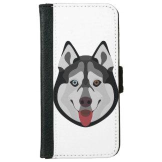 Capa Carteira Para iPhone 6/6s A ilustração persegue o rouco Siberian da cara