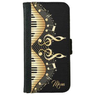 Capa Carteira Para iPhone 6/6s A música do ouro nota o fundo preto