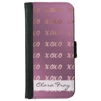 Capa Carteira Para iPhone 6/6s a tipografia cor-de-rosa do ouro do falso abraça e