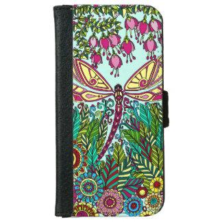 Capa Carteira Para iPhone 6/6s Amarelo fúcsia do rosa de jardim da libélula