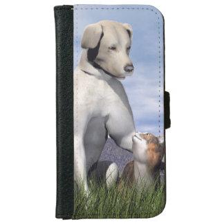 Capa Carteira Para iPhone 6/6s Amizade do cão e gato