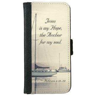 Capa Carteira Para iPhone 6/6s Âncora para minha alma, veleiros de Jesus do 6:19