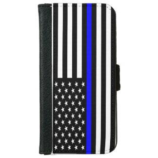 Capa Carteira Para iPhone 6/6s Blue Line fino telefona à carteira