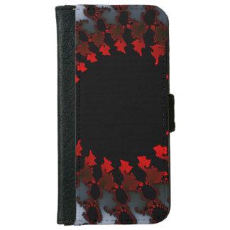 Capa Carteira Para iPhone 6/6s Branco preto vermelho do Fractal