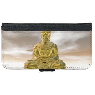 Capa Carteira Para iPhone 6/6s Buddha dourado - 3D rendem
