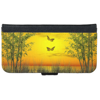 Capa Carteira Para iPhone 6/6s Butterlflies pelo por do sol - 3D rendem