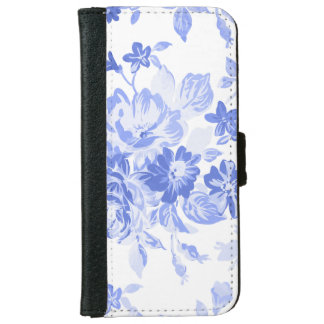 Capa Carteira Para iPhone 6/6s Caixa floral branca & azul da carteira do iPhone