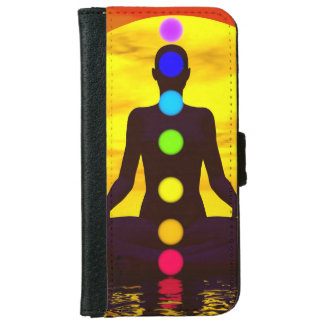 Capa Carteira Para iPhone 6/6s Chakras no por do sol - 3D rendem
