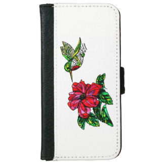 Capa Carteira Para iPhone 6/6s Colibri com a carteira do telefone do hibiscus