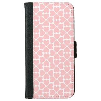 Capa Carteira Para iPhone 6/6s Corações do trevo da folha do rosa quatro