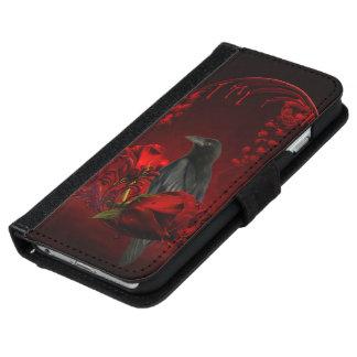 Capa Carteira Para iPhone 6/6s Corvo maravilhoso