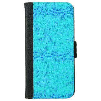 Capa Carteira Para iPhone 6/6s Couro azul de néon do Vegan da escala da sereia