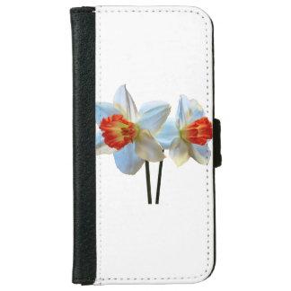 Capa Carteira Para iPhone 6/6s Dois brancos e Daffodils alaranjados