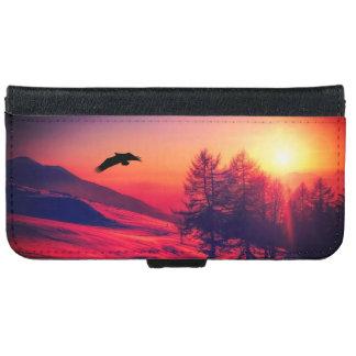 Capa Carteira Para iPhone 6/6s Eagle que voa no por do sol