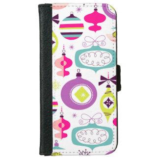 Capa Carteira Para iPhone 6/6s Enfeites de natal retros brilhantes