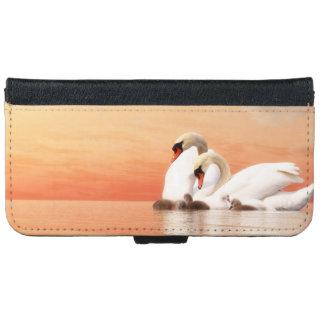 Capa Carteira Para iPhone 6/6s Família da cisne