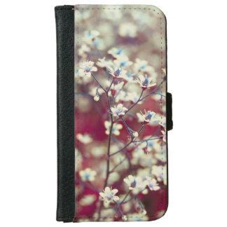 Capa Carteira Para iPhone 6/6s Flores brancas