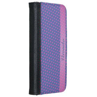 Capa Carteira Para iPhone 6/6s Fractal cor-de-rosa e preto
