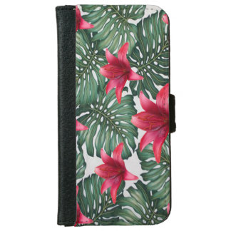 Capa Carteira Para iPhone 6/6s Hawaiian tropical adorável Hibiskus da palma