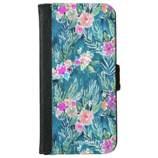 Capa Carteira Para iPhone 6/6s Hibiscus havaiano do PARAÍSO TROPICAL do MARINHO