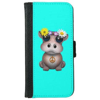 Capa Carteira Para iPhone 6/6s Hippie bonito do hipopótamo do bebê