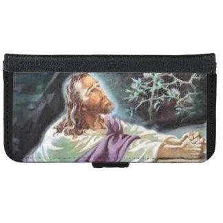 Capa Carteira Para iPhone 6/6s Jesus Cristo na oração