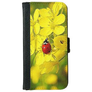 Capa Carteira Para iPhone 6/6s Joaninha amarelo do vermelho da boa sorte da flor