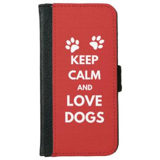 Capa Carteira Para iPhone 6/6s Mantenha a calma e ame cães