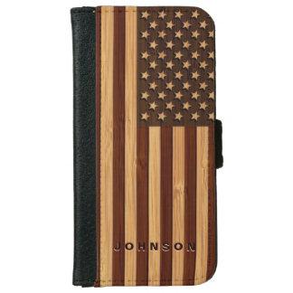 Capa Carteira Para iPhone 6/6s Olhar de bambu & bandeira americana gravada dos