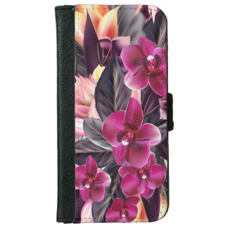 Capa Carteira Para iPhone 6/6s Orquídeas. Design tropical com flores bonitas