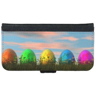 Capa Carteira Para iPhone 6/6s Ovos coloridos para a páscoa - 3D rendem