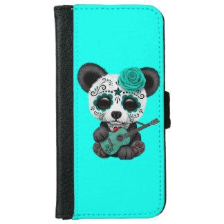 Capa Carteira Para iPhone 6/6s Panda azul do crânio do açúcar que joga a guitarra