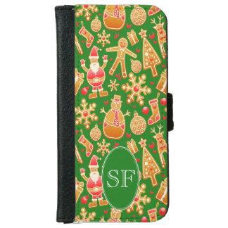 Capa Carteira Para iPhone 6/6s Papai noel e monograma festivos do pão-de-espécie