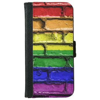 Capa Carteira Para iPhone 6/6s Parede de tijolo colorida da bandeira do orgulho